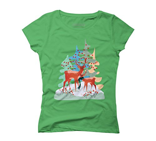 Winter Forest Deers Women's Graphic T-Shirt - Design By Humans Green