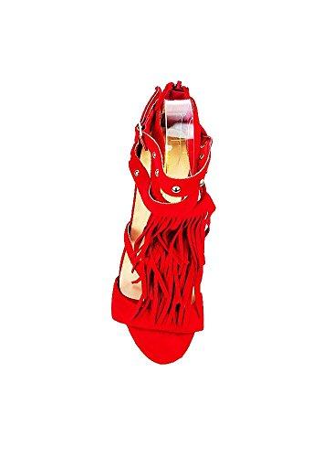 Escarpins à Talon à Franges Rouge Rouge