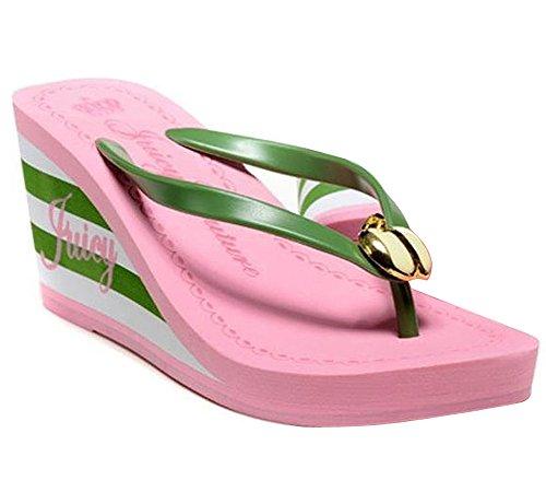 Minetom Damen High Heels Flip Flops Sandalen Strand Sommer Flat Pantoffel Plattform Keile Zehentrenner EU Größe Pink 1