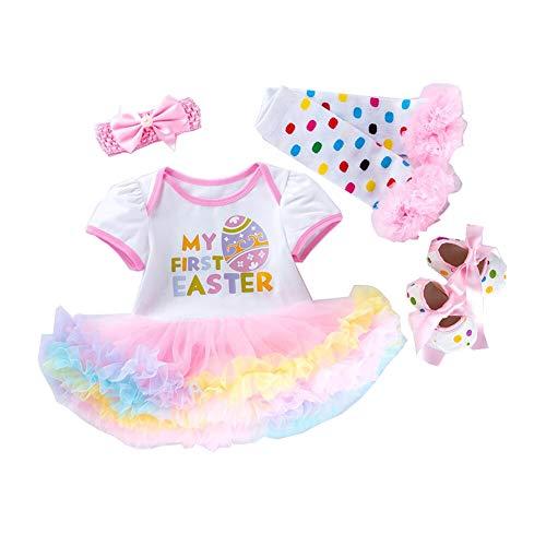 mama stadt Neugeborene Ostern Baby Kleidung Set My First Easter Osterhase Prinzessin Outfits Kurzarm Strampler Tutu Kleid Stirnband Beinwärmer Schuhe Kostüm 4 tlg/73 ()