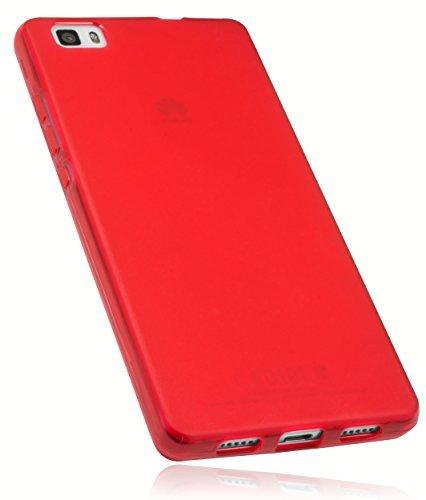 mumbi Schutzhülle Huawei P8 Lite Hülle transparent rot (nicht für das P8 Lite Smart) -