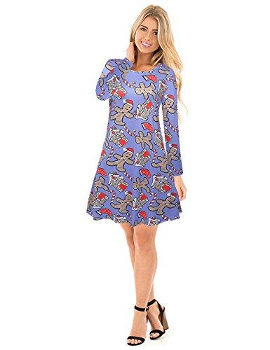 ihnachten Kleid Cartoon gedruckt Pullover Tops XL blau (Weihnachts Outfits Für Junioren)