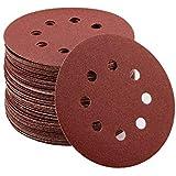 LANHU 80 stuks klittenband-schuurpapier schuurschijven 125 mm Ø korrel elk 8 x 10 maat-40/80 / 120/240 / 320/400 / 600/800 He