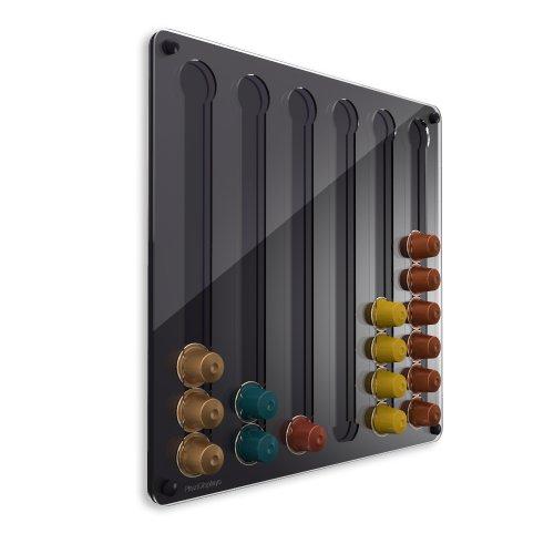 Plexidisplays 1303022 Wand-Kapselhalter für Nespresso-Kapseln, Design Klassik, 41 x 40 cm, schwarz