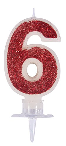 enkerze 6, rot/glitter, mit Halter, Kuchendekoration für Geburtstage ()