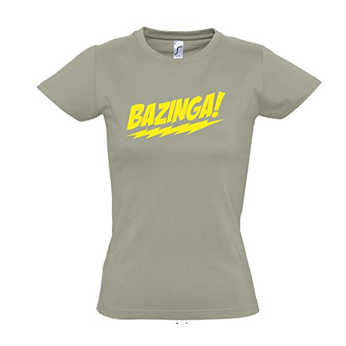 Damen T-Shirt - BAZINGA, The Big Bang Theory - FUN KULT SHIRT S-XXL , Khaki - gelb , S (Theory The T-shirt Bang Big Frauen)