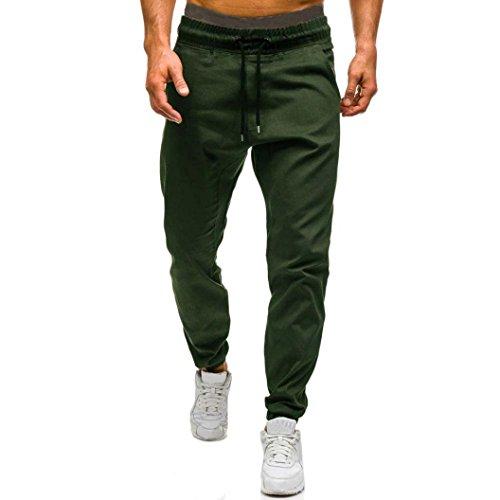 ❤️Pantalons Homme, Amlaiworld Hommes Printemps D'Automne Pantalons Casual Pantalon Design Élastique Jogging Pantalons de Sport (XL, Vert D'Armée)