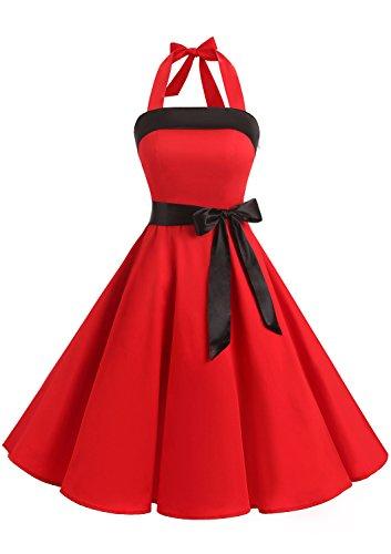 Timormode 10212 Damen Vintage Kleid 1950 Neckholder Cocktailkleid Faltenrock Partykleid XXL Rot