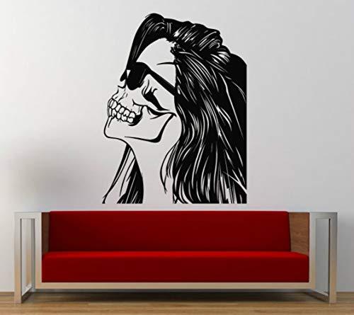 ooles Gesicht Wandtattoos Vinyl Mädchen Haar Brille Shades Swag Wandaufkleber Wohnzimmer Kunst Decor 57x80 cm ()