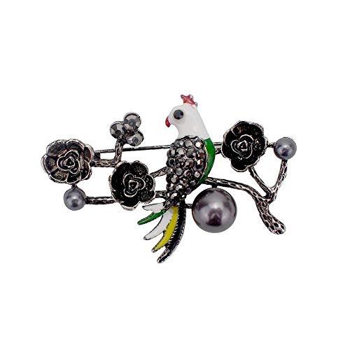 DTZH Brosche Pin Brosche Pins Elegante Temperament Brosche Tropfen Sie Öl Vogel Brust Belle Plaine Retro Blumen Brosche Kragen Trim -