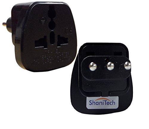 Lot de 2 adaptateurs de voyage ShaniTech - type L - adaptateurs secteur convertisseur AC - prise de courant aux normes pour l'Italie, Uruguay, San Marino Qty. 1 No