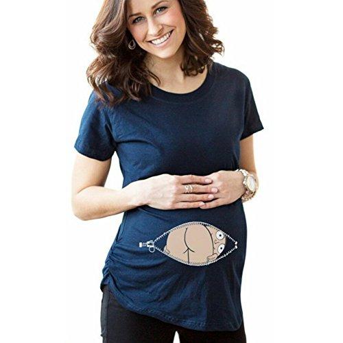 Highdas Mama Schwangerschafts-T-Shirt Lustiges Muster-Frauen Schwangerschafts-Top Blau / L