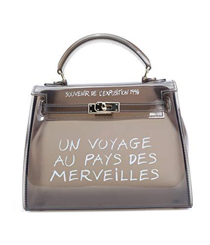 Damen Handtasch Transparenter Jelly Bag aus PVC wasserdichte Umhängetasche Mode Shopper Schultertasche -