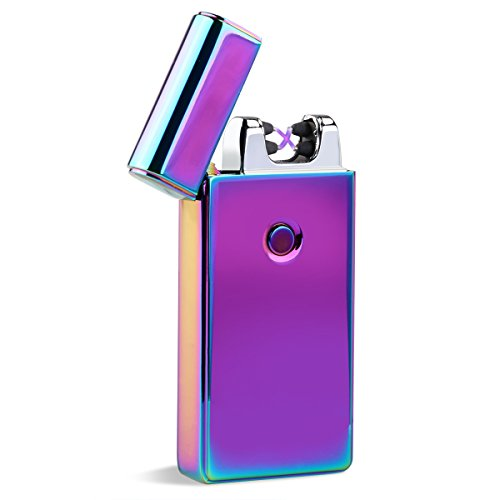 *UEETEK Elektrische Akku leichter Dual Arc flammenlose USB winddicht Zigarettenanzünder (bunt)*
