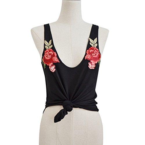 Babysbreath T-shirt Donna Tops Fiori ricamati Top Vestito senza maniche corte Deep V collo nero