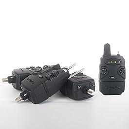 CARP DESIGN Détecteurs Carpe Coffret Freedom 1 Centrale + 3 Détecteurs, LEDs 7 Couleurs au Choix, sensibilité Micro Ajustable, Volume et tonalité réglables, Fonction vibreur sur Le récepteur.