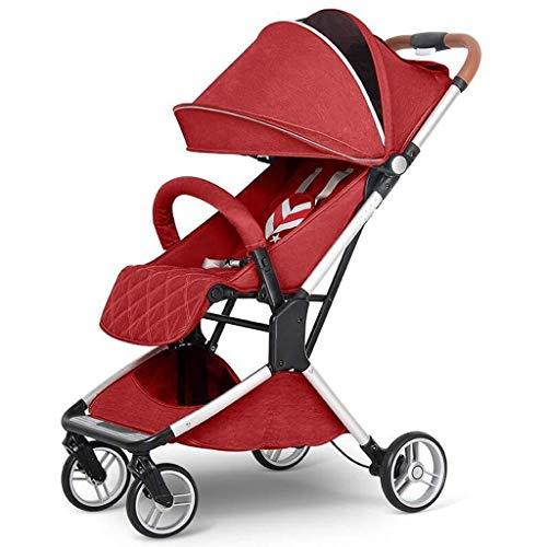 Baby Kombikinderwagen Tragbare Falten Shock Trolley Reise Four Seasons Universelles Neugeborenen Optional 3 Farbe Full Cover Markise (Color : Red)