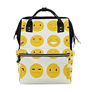Alinlo Funny emoji émoticône visage Sac à langer Diaper Sac à dos avec sangles de poussette multifonction Grande capacité momie Sac fourre-tout Sacs pour voyage Baby Care