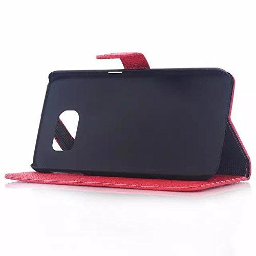 Samsung Galaxy S6 Edge Case,matte Oberfläche Zu Haut - Ledertasche Auf Muster Hardcover Für Samsung S6 Rand ( Color : White , Size : Samsung S6 Edge ) Red