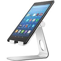 MoKo Soporte para Kindle Fire Tablet/E-Reader,Titular de Aluminio Giratorio de ángulo múltiple de 210°para Kindle Fire 7 2017/ HD8 2017/ HD10 2017/Kindle Paperwhite/Oasis 2017/Voyage, Plata