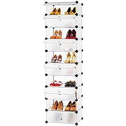 LANGRIA Estantería por módulos, Zapatero en Torre DIY 10 Cubos, Armario por Módulos Almacenamiento para Baño Aparador Habitación Salón Garaje, Blanco Translúcido
