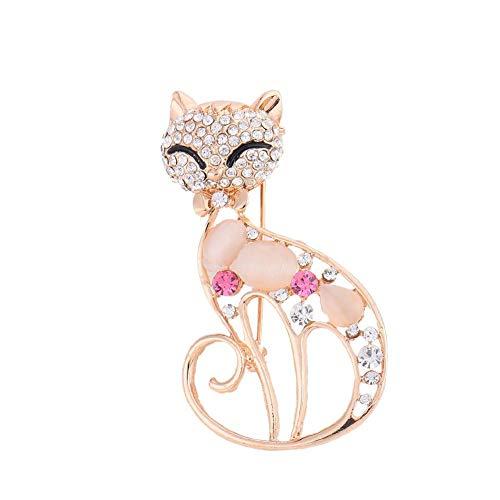 Chat avec broche en diamants, broche en diamants Femme fille Vêtements accessoires Décorations élégantes et délicates