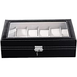 Housweety 12 Watch Box Large Men's Black Leather Display Glass Top Jewelry Case Organizer