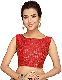 15a12efdf05 STUDIO SHRINGAAR WOMEN S RED EMBROIDERED SLEEVELESS SAREE BLOUSE WITH BOAT  NECK.