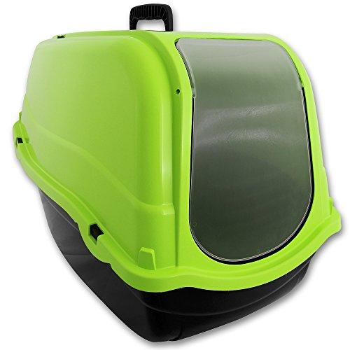 TW24 XXL Katzenklo mit Farbwahl Schalentoilette Katzentoilette mit Deckel Filter große Schwingtür (Grün)