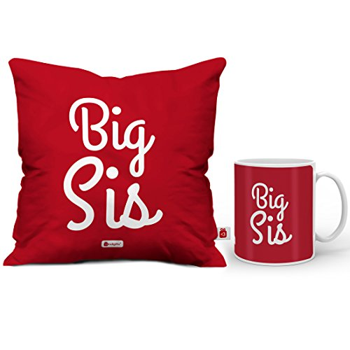 Indigifts Rakhi Gift For Sister Big Sis Quote Coffee Mug 330 Ml Cushion Cover 12x12