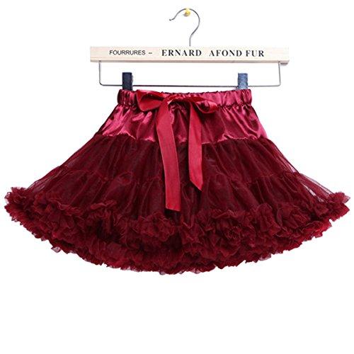 Einfach Rüsche-rock (Baby Mädchen Rüschen Tüll Ballett Tutu Rock Tanz Pettiskirt 0-1 Jahre / XS, Claret)