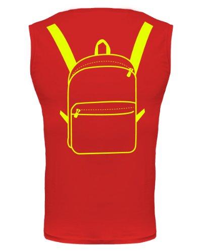 buXsbaum® Tank Top Traveller-Bag Rückendruck Red-Neonyellow