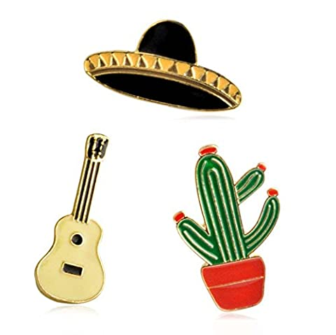 Metal Enamel Pin Badge Brooch Badges Set Of 3PCS RPotted Cactus Guitar Planet Hat Corsage Pin