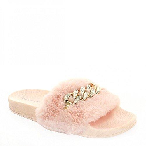 Ideal Shoes - Claquettes avec fourrure synthétique et chaîne Talia Rose