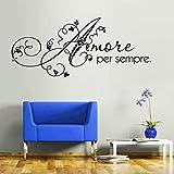 Love Forever Italian Wall Sticker Art Romantic Home Decor DIY Removable Self Adhesive Wall Decorative De 141cm X 59cm