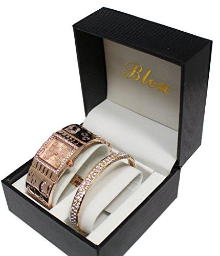 coffret-reloj-mujer-joyas-dorado-rosa-brillantes-pulsera-color-cobre-coleccion-dolce-vita