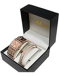 67cc7a1823c9 Ernest Dolce Vita - Estuche con reloj decorado con bisuteria rosa para mujer  y pulsera de cobre. B00XRCL2YG