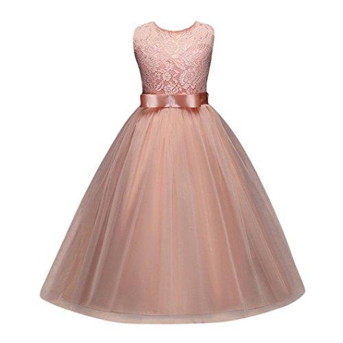 d Festlich Kleid Brautjungfern Kleid Hochzeit Partykleid mit Spitze Tüll Festzug Kinderkleidung Kinder Kleid Prinzessin Abendkleid Maxikleid Cocktailkleid (Pink, 150-155CM 10Jahre) ()