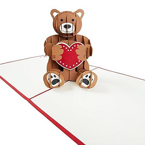 Pop-Up Carte « Ours en peluche avec cœur » - Cadeau original pour occasions divers (Anniversaire, Mariage) - Carte de vœux à la main 3D avec l'enveloppe
