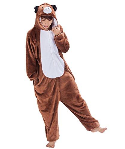 Japsom Herren Cosplay Anime-Karikatur nachtwäsche Kigurumi one-Piece-Pyjamas Dog s-XL Braun Medium