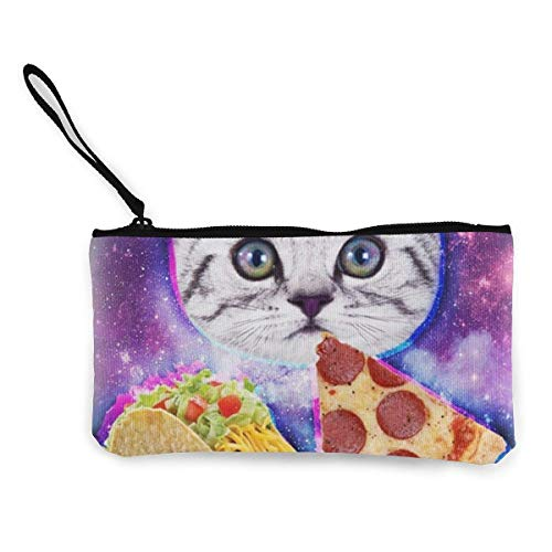 Galaxy Taco Cat Pizza Wallets for Women Card Holder Zipper Purse Phone Clutch Wallet Wristlet with Wrist Strap ()