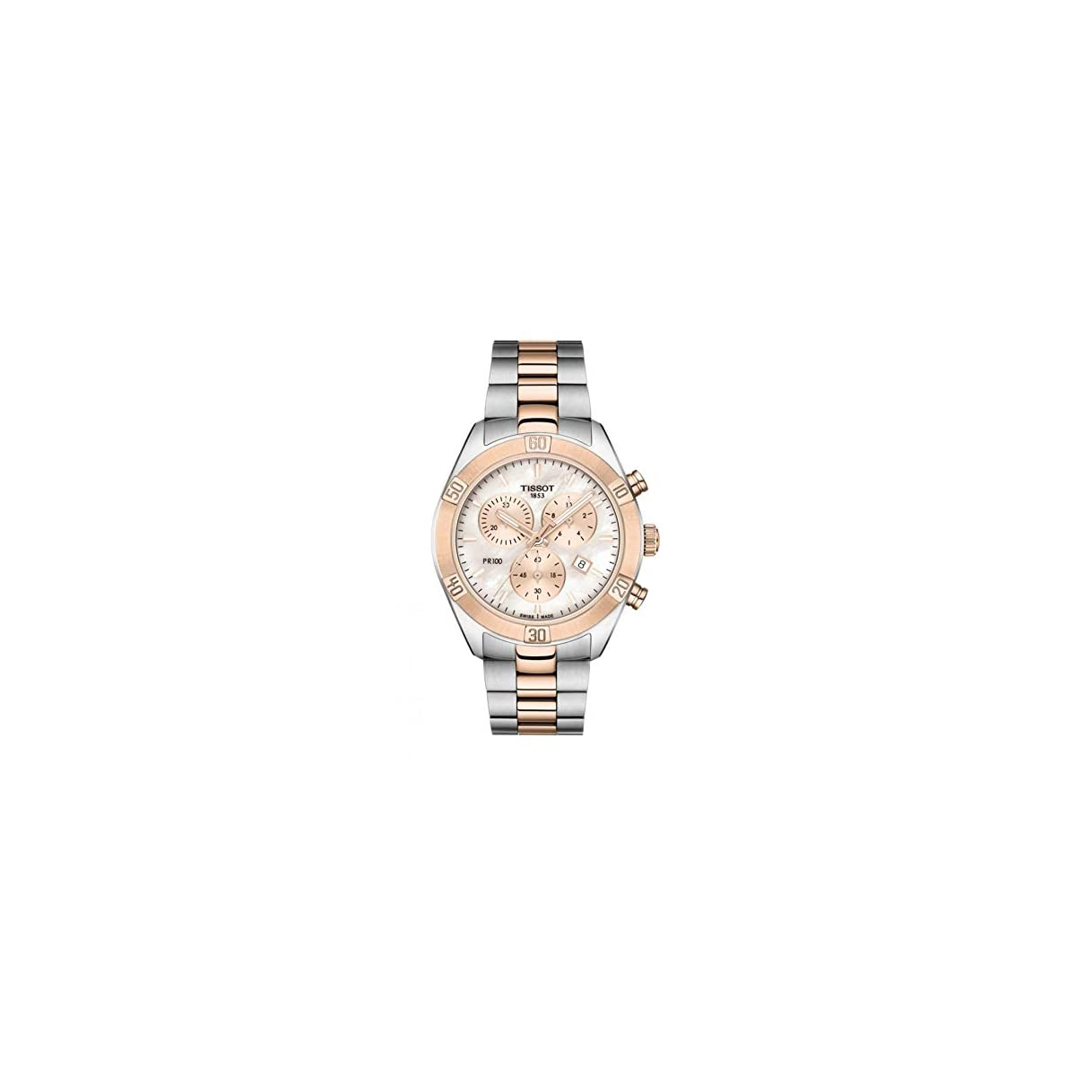 41Om6dK6d4L. SS1200  - Reloj Tissot PR 100 Sport Chic con cronógrafo en Acero Bicolor, T1019172215100.