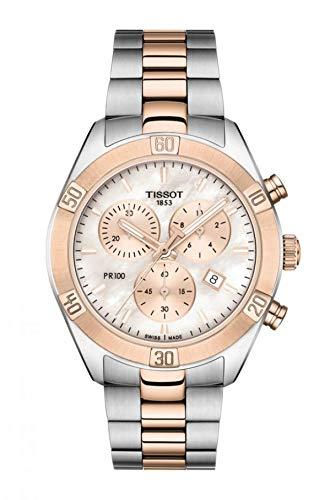 Reloj Tissot PR 100 Sport Chic con cronógrafo en Acero Bicolor, T1019172215100.