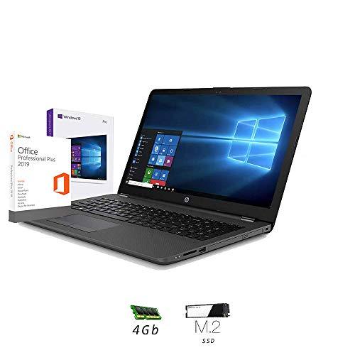 Ordinateur Portable HP 255 G7,15.6 AMD A4 2,60 GHz Turbo Ram 4 Go DDR4/SSD M.2 256 Go,Radeon R3 Graphic, Windows 10 Professional,Bureau,USB 3.0/WiFi/,Clavier QWERTY Italien
