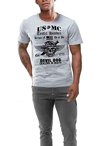 Men Cotton USMC T Shirt Us Marines Semper Fidelis Veteran Military Grey Summer Style Printed Tee Shirts -