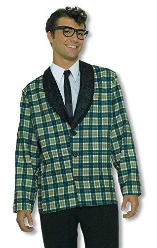 Horror-Shop 50's Jacket mit Karomuster und Krawatte (Buddy Holly Kostüm)
