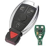Pnizun - 2 3 3 + 1 Tasten Keyless Entry Remote-Auto-Schlüssel-433MHz für Mercedes Benz 2000+ mit BGA & NEC Chip Smart Key Shell-Fall [4 Tasten ]