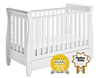 Babymore Eva Sleigh Cot Bed Dropside with Drawer + FOAM MATTRESS