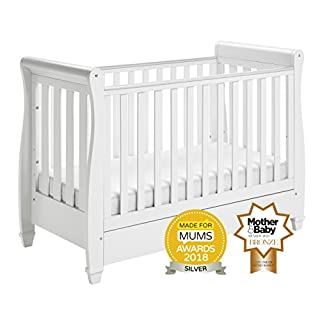 Babymore Eva Sleigh Cot Bed Dropside with Drawer (White) + Mattress