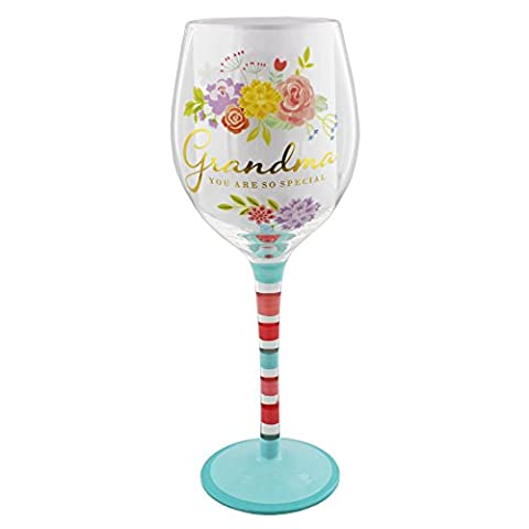 Grandma Gift - Beautiful Floral Wine Glass With Gold Writing In Gift Box